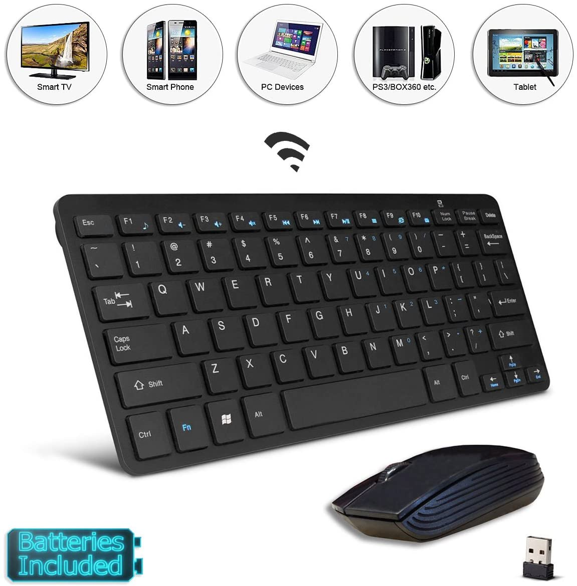 Black Wireless Mini Keyboard & Mouse Easy Control, Remote Control for Toshiba 40LL3A63DB 40