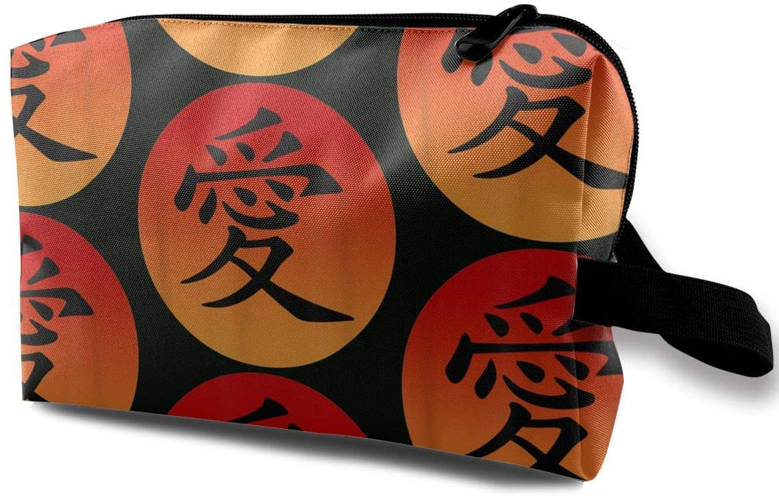 Love Written in Traditional Chinese Characters Travel Kit Toiletry Bag Organizer Easy to Carry