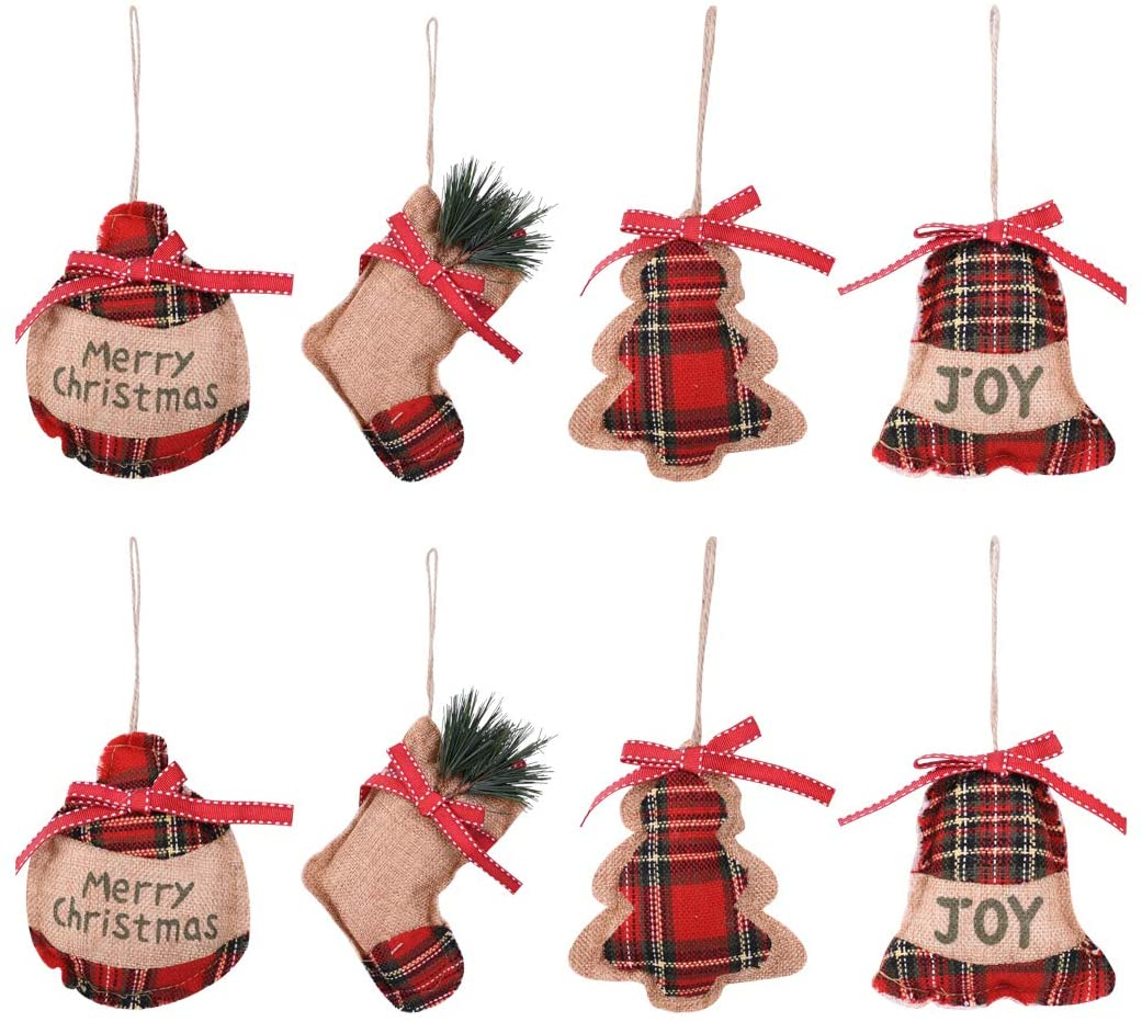 KOMIWOO 8PCS Burlap Stocking Tree Ball Bell Christmas Tree Ornaments, Great Rustic Vintage Decorations for Holiday Party, Home Decor