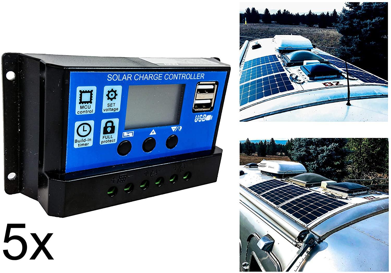 OZ-USA 5 Units 20A Solar PV Panel Battery Charger Regulator Controller LCD Display Built-in Timer USB Port 12V 24V