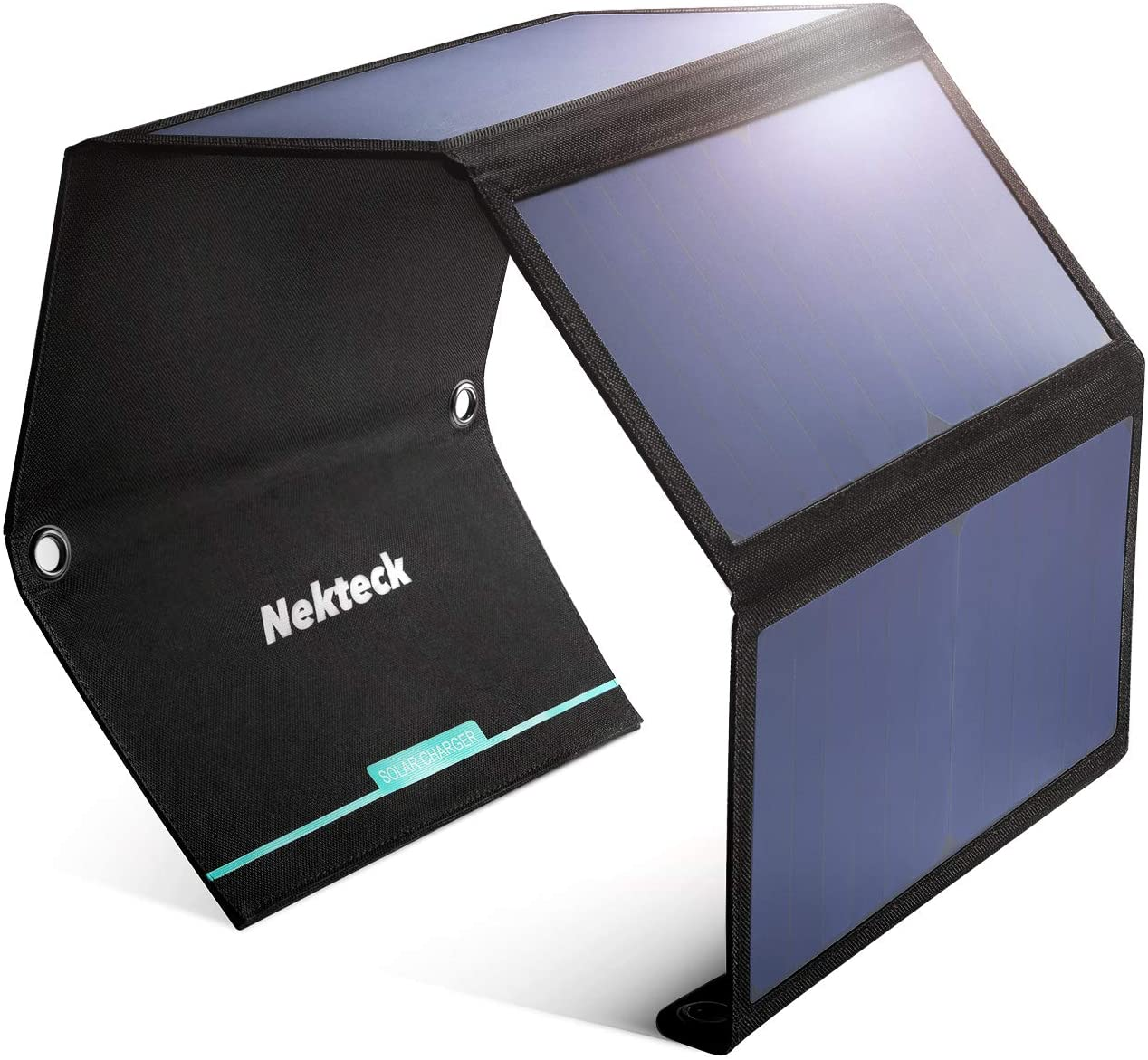 Nekteck 28W Portable Solar Panel Charger, Waterproof Camping Gear Solar Powered Charger with 2 USB Port for iPhone X/8 Plus, Samsung Galaxy s9/s8,iPad, Tablet and Any USB Devices
