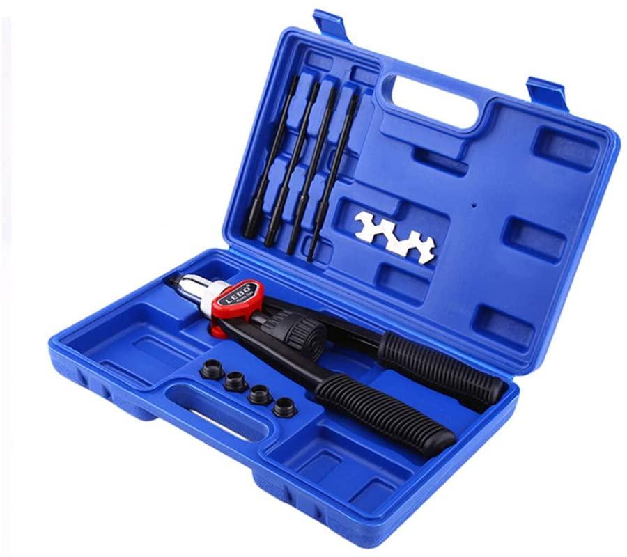 Hand Nut/Thread Riveter Rivet Gun Set With Nosepieces Blind Rivets Repair Tools