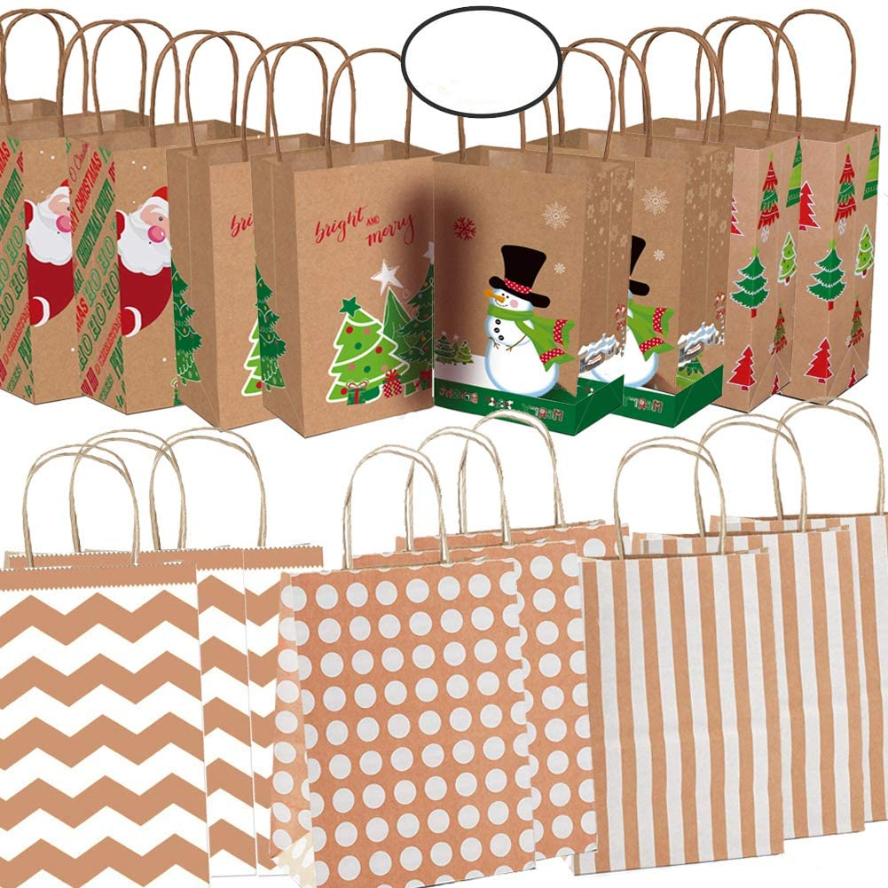 Christmas Kraft Gift Bags Xmas Kraft Paper Bags with Christmas Prints for Holiday Paper Gift Bags Christmas Goody Bags Handles, 20 Pack