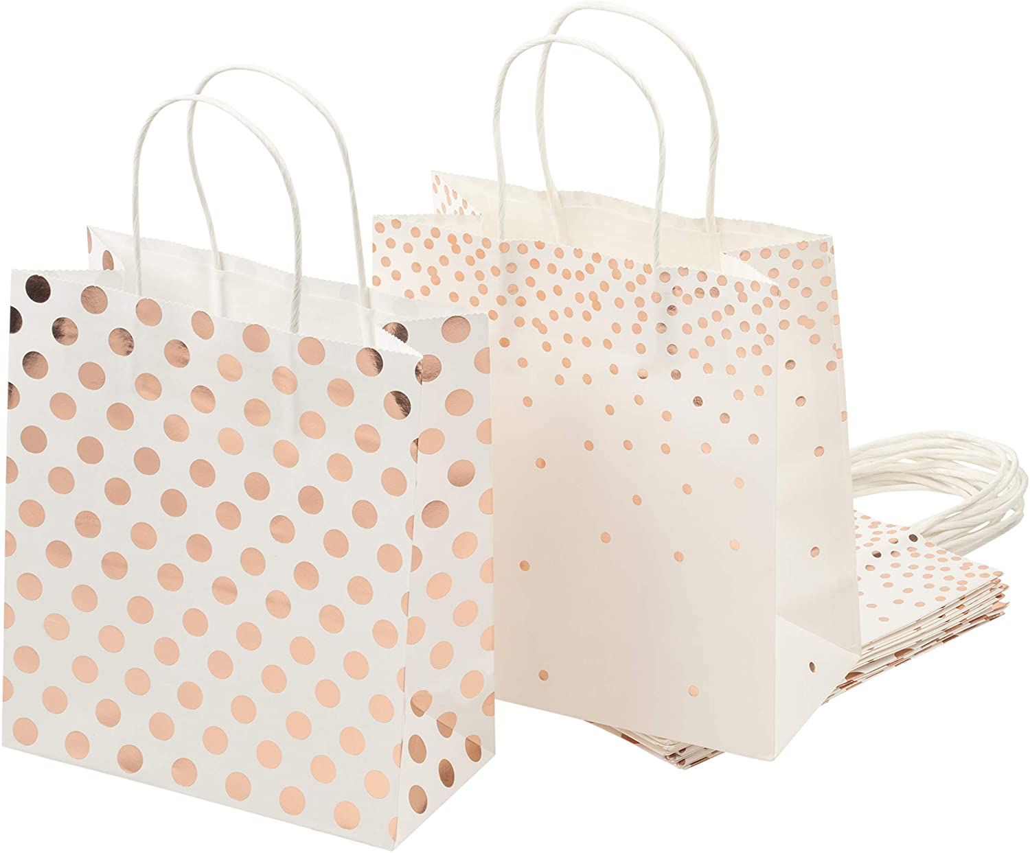 Foil Gift Bags – 16-Pack Treat Bags with Handles, Paper Goodie Bags for Retail, Gifts, Party Favors, 2 Rose Gold Foil Designs, Medium, 9 x 8 x 4 Inches