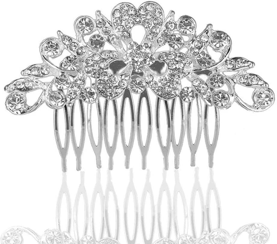MYYQ. Bride Rhinestone Hair Comb Wedding Accessories Alloy Headwear Comb Jewelry Size: 96cm
