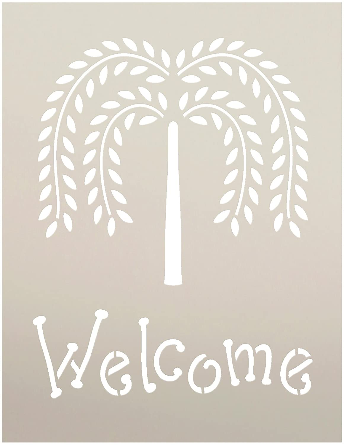 Primitive Willow Tree Welcome Word Stencil by StudioR12 | Paint a Front Porch or Entrance Wood Sign | Reusable Mylar Template | Use for Wall Art, DIY Rustic Country Home Decor - Choose Size