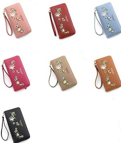 new women flower embroided black red pink wristlet wallet clutch purse
