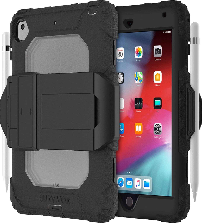 Griffin Survivor All-Terrain (w/Kickstand) for iPad Mini (2019) & iPad Mini 4, Black/Clear