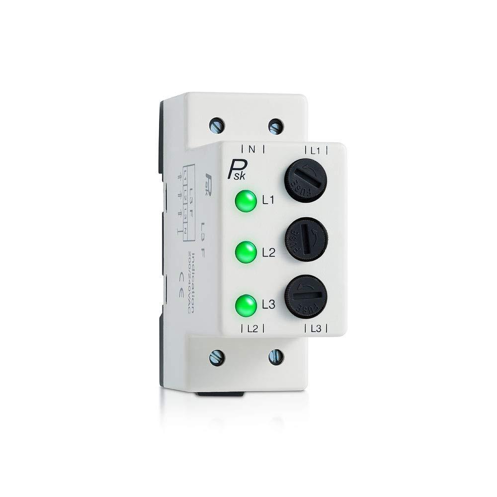 L3-Fuse 3 Phase LED Indicator Lights+Fuse Green