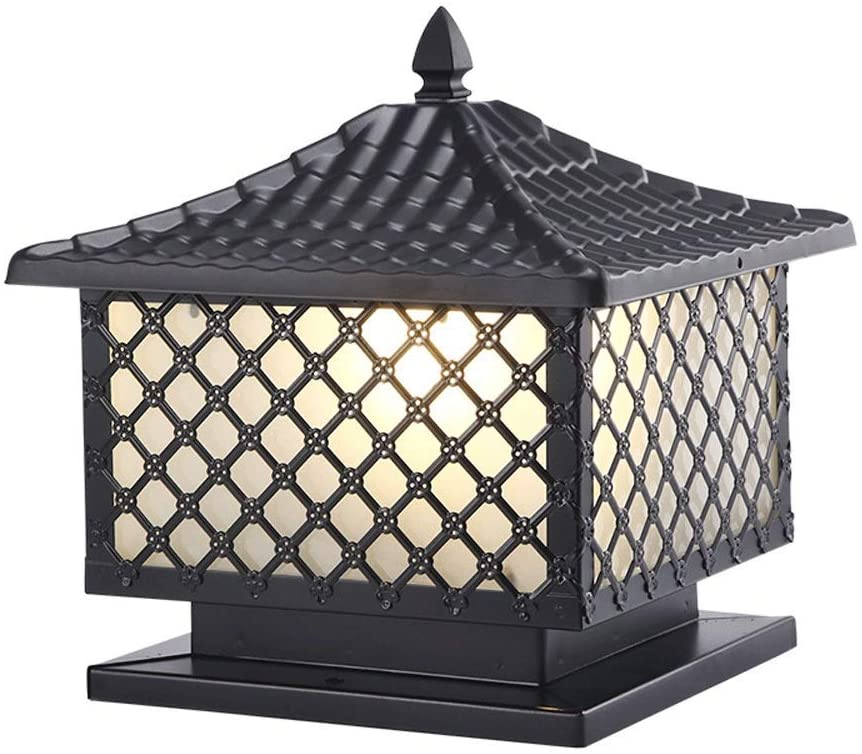 Berlato Classic Black Waterproof Pillar Lights Aluminium Square Die-cast Glass Outside Door Column Lamp Lantern Weatherproof Gate Patio Porch Streetlight Exterior Lighting Traditional E27