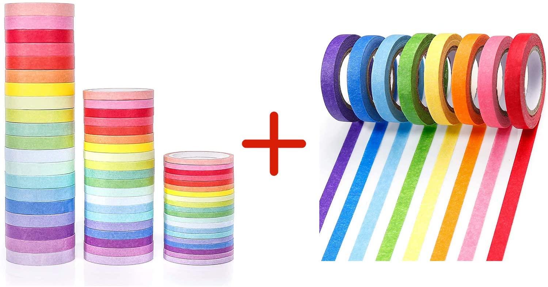 PuTwo Bundle - 60 Rolls Pastel Washi Tape and 8 Rolls Rainbow Washi Tape