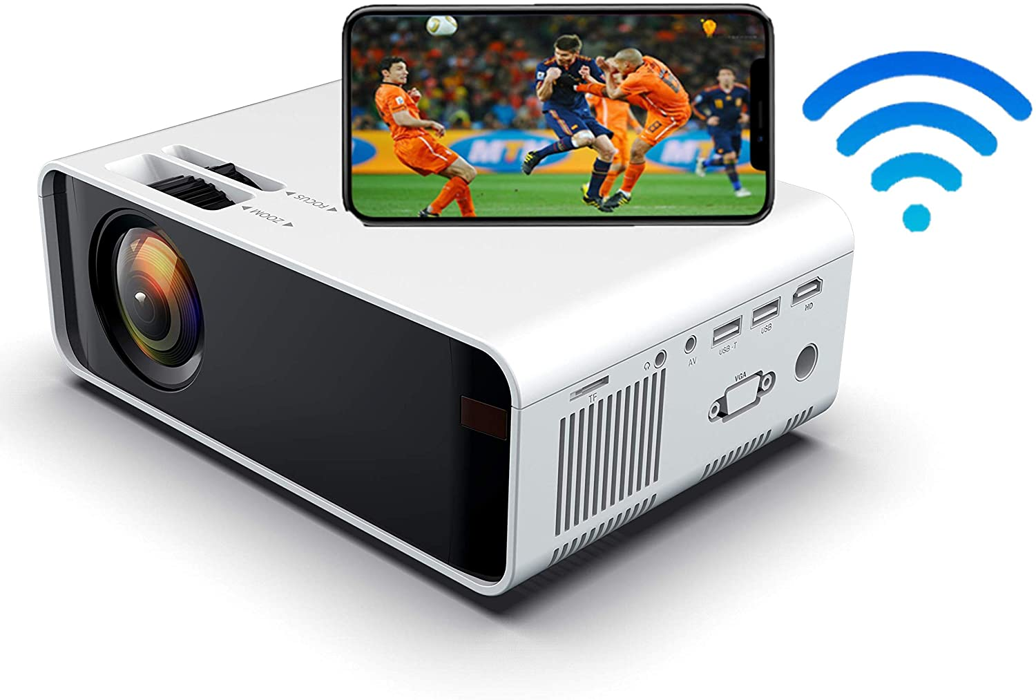 LED Portable Home Theater Projector 1080P Supported,Mini Video airplay Projector , Compatible with HDMI/USB/SD Card/VGA/AV and Smartphone (Same Screen White)