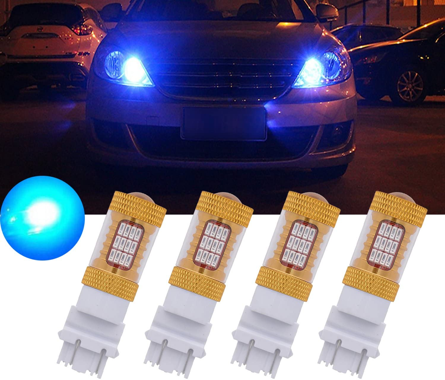 TUINCYN 3157 3156 Car LED Replacement Brake Light Bulbs Blue 3457 3047 3057 3057A 3155 4014 54SMD Auto Tail Backup Stop Lights Turn Signal Brake LED Light with Lens DC 12V (Pack of 4)