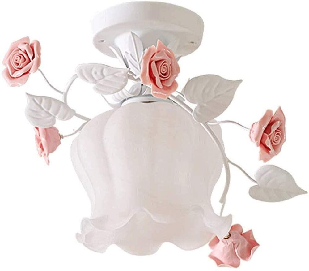 Ceiling Light-Modern Pastoral Glass Ceiling Light, Creative Ceramic Flowers, Warm Corridor Aisle Balcony Ceiling Lamp,17x26cm