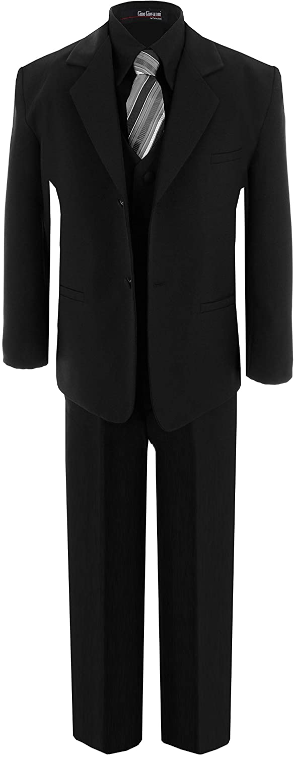 Gino Giovanni Big Boys Formal Dress Suit W/Black Shirt and Silver Tie G191 (8, Black/Silver)