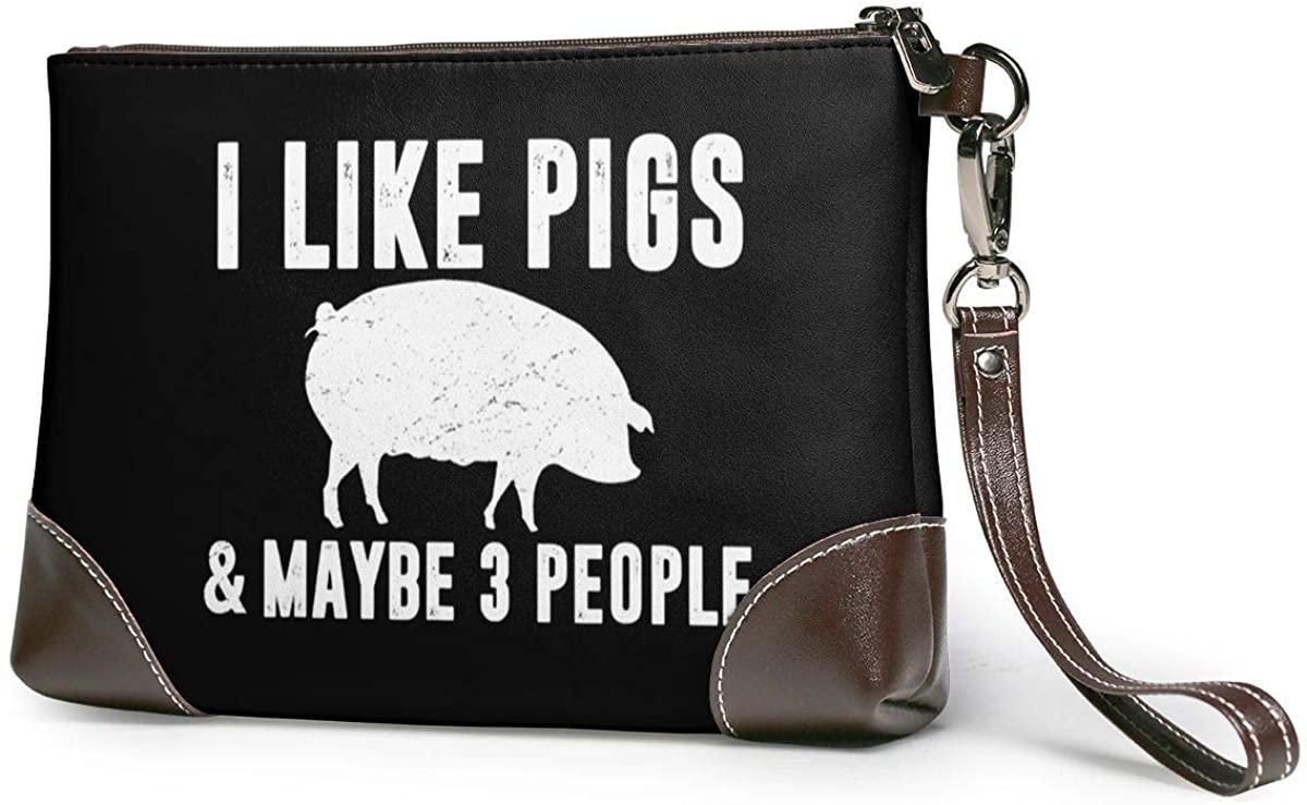 I LIKE PIGS MAYBE 3 PEOPLE. Leather Clutch Fashion Handbag Phone Wristlet Purse