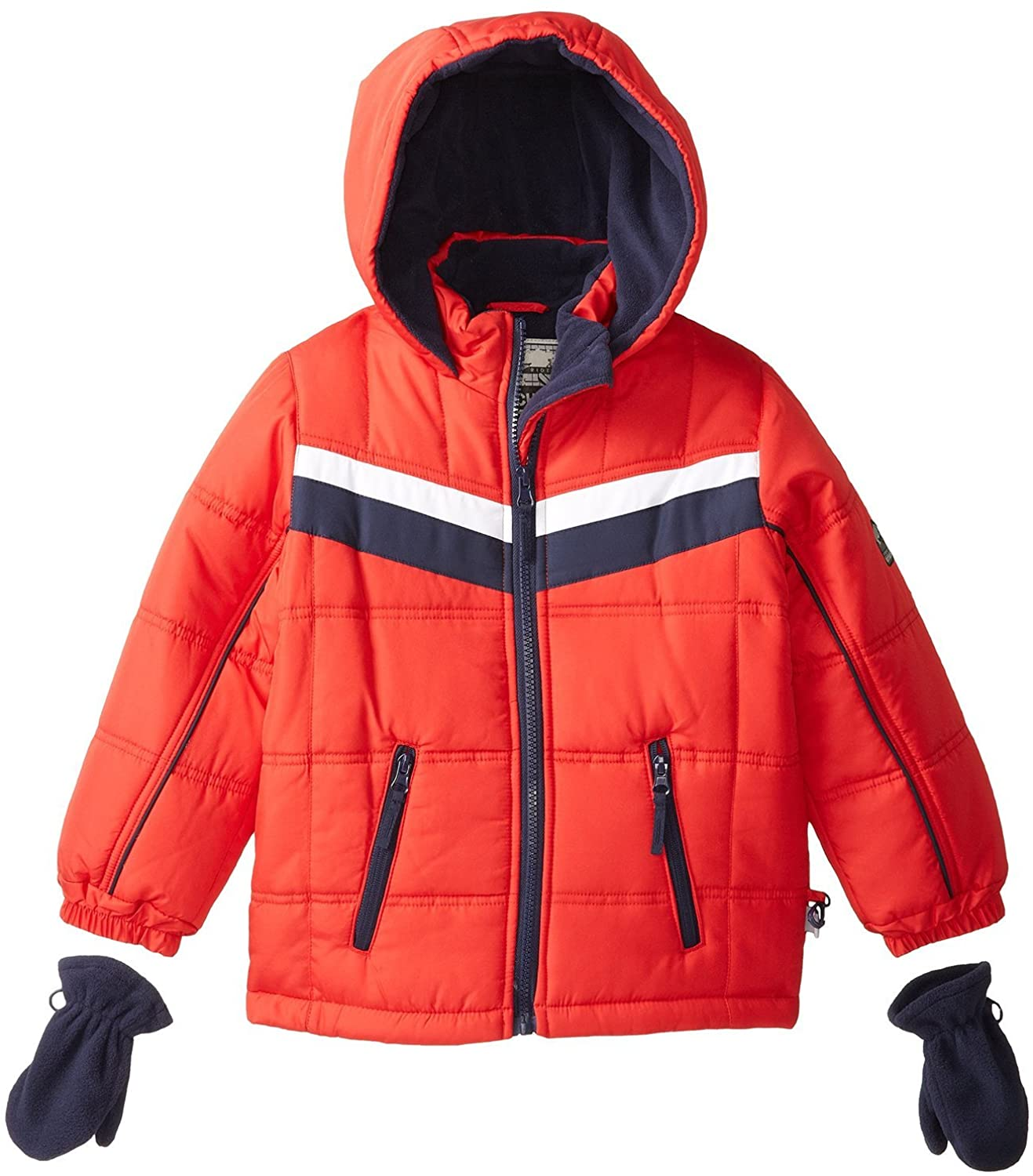 Rothschild Little Boys Quilted Fleece Lined Winter Puffer Bubble Coat for Skiing - Red (Size 2T)