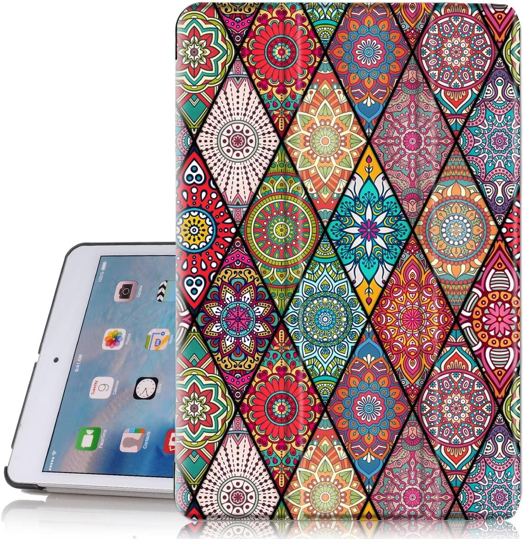 iPad Mini 2 Case, iPad Mini 3 Case, Hocase PU Leather Folio Smart Case w/Unique Flower Design, Auto Sleep/Wake Feature, Microfiber Lining Hard Back Cover for iPad Mini 1/2/3 - Mandala Floral