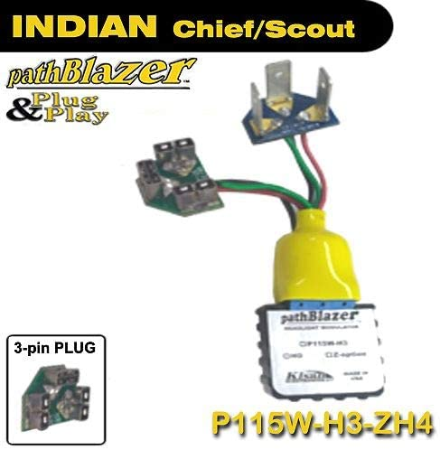 Indian Bagger Flashing Headlight Modulator P115W-H3-ZH4 Plug n Play, Programmable, No-cut, Kisan pathBlazer 2009 & on Models includes Daylight Sensor, Strobe for Headlight Modulation