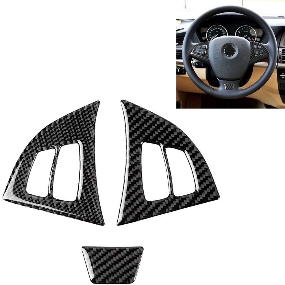 QINGFUHANG 3 in 1 Car Carbon Fiber Solid Color Steering Wheel Button Decorative Sticker for BMW E70 2008-2013 X5, Left and Right Drive Universal Fashion for 2020