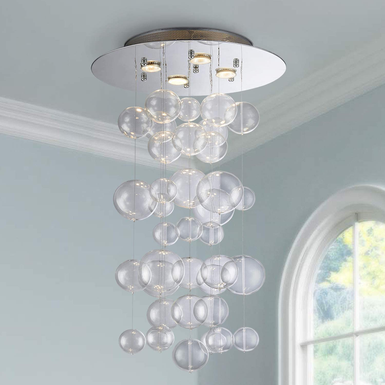 Saint Mossi Modern Glass Raindrop Chandelier Lighting Flush Mount LED Ceiling Light Fixture Pendant Lamp for Dining Room Bathroom Bedroom Livingroom 4 GU10 Bulbs Required H31