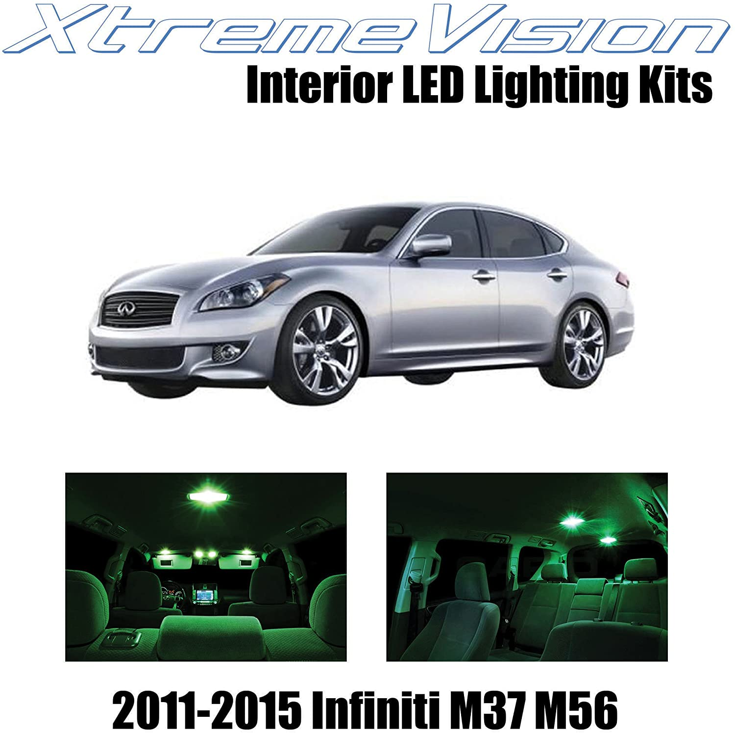 XtremeVision Interior LED for Infiniti M37 M56 2011-2015 (10 Pieces) Green Interior LED Kit + Installation Tool
