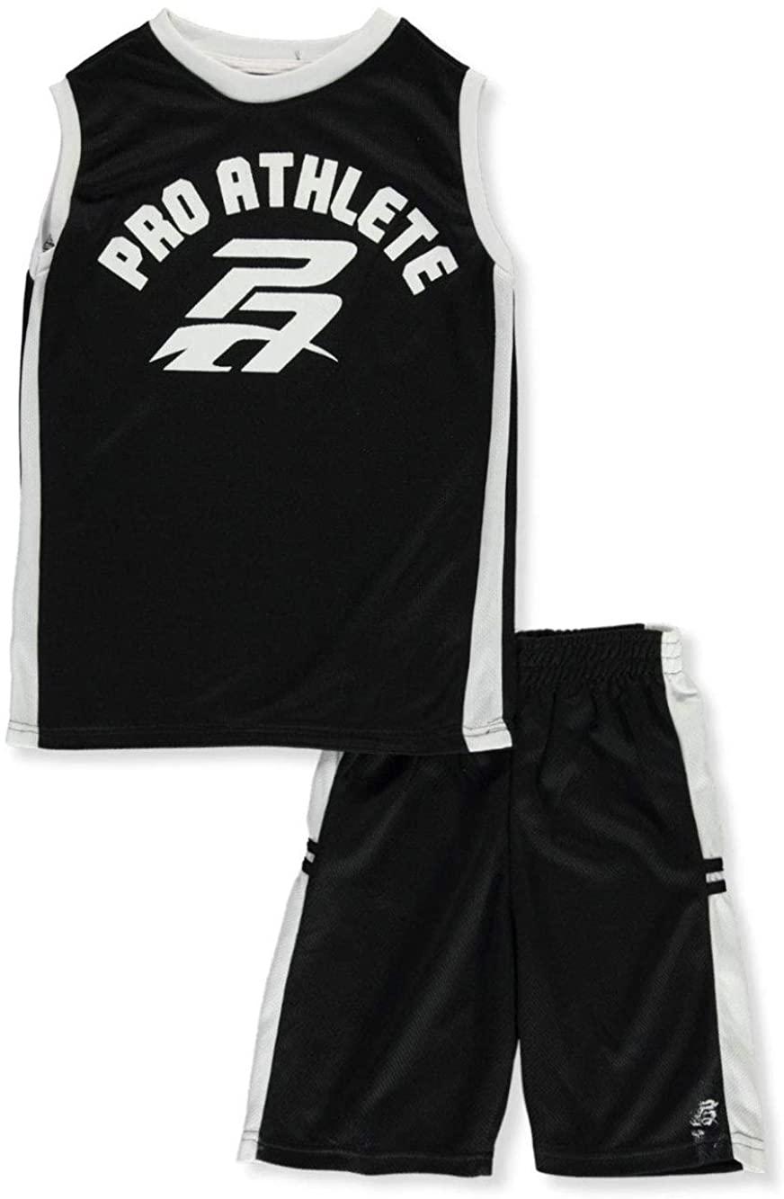 Pro Athlete Big Boys' 2-Piece Shorts Set Outfit - Black, 14-16