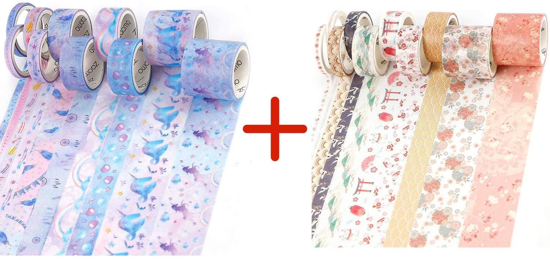 Bundle - 10 Rolls Decorative Tape and 10 Rolls Cute Washi Tape