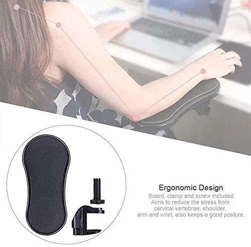 Ywoow The Bracket, Desk Attachable Wrist Rest Rotated Computer Arm Support Mouse Pad Red Black, Computer Support Arm Mount