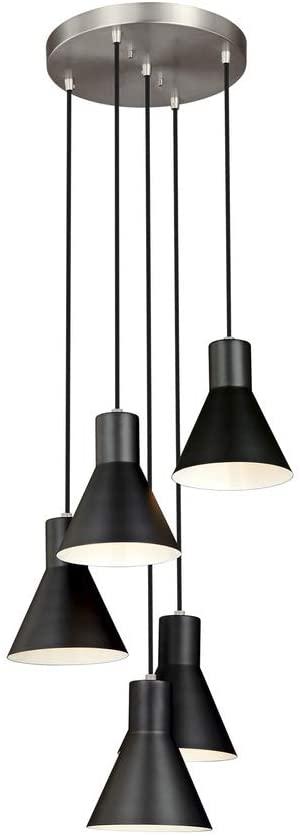 Sea Gull Lighting 5141305-962 Towner Transitional Five Light Cluster Pendant Hanging Modern Fixture, Brushed Nickel Finish
