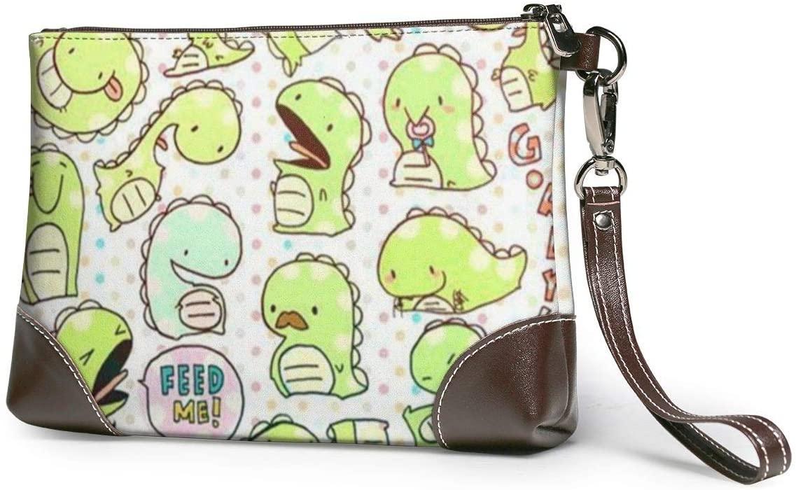 Hcluw Purses Clutch Phone Wallets Cute Dinosaur Leather Small Wristlet Purses Handbag