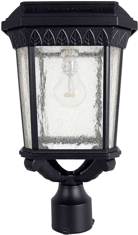 GAMA SONIC Colonial Solar Post Light, Outdoor Solar Powered LED Light, Post Mount, Black (GS-18F)