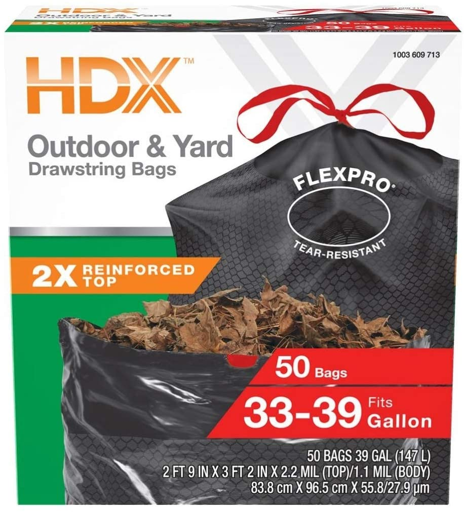HDX FlexPro 33-39 Gal Black Drawstring Outdoor and Yard Trash Bags (50 Count)