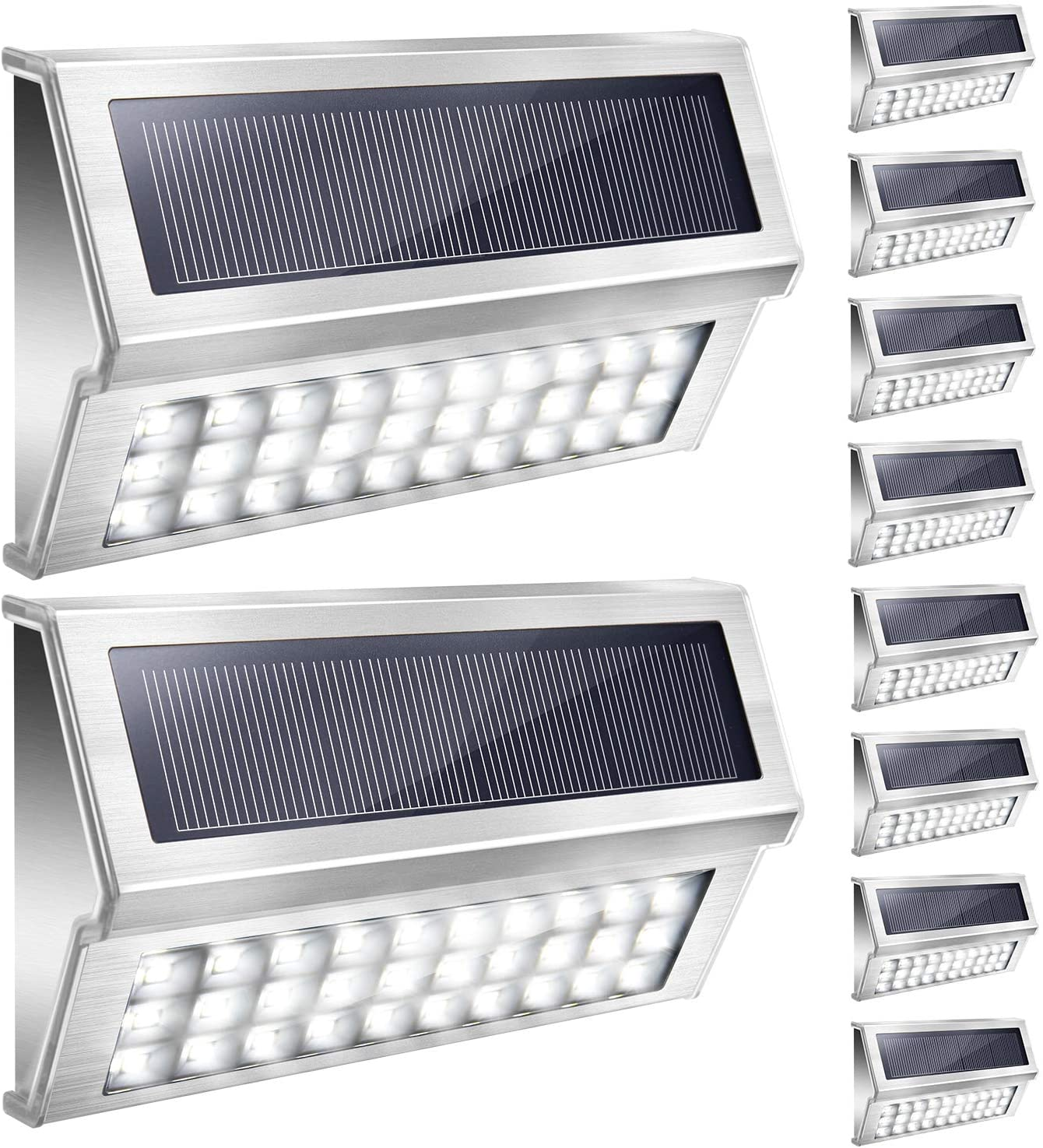 JACKYLED 10Pack Solar Step Lights Upgrade 30 LED Bright Cool White Stainless Steel Solar Stair Lights with 1600mAH Battery Outdoor Waterproof Wireless Deck Security Lighting for Walkway Fence Yard