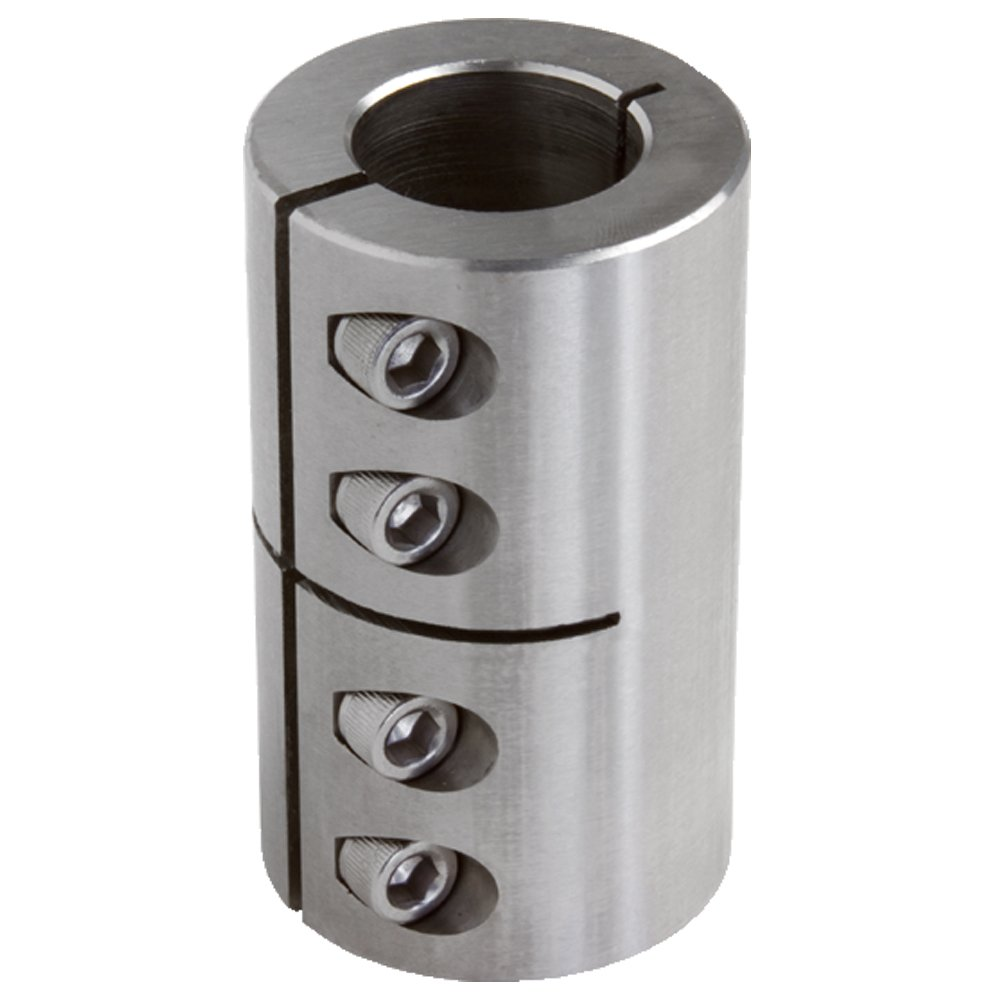 Climax Part ISCC-125-125-S T303 Stainless Steel Clamping Coupling, 1 1/4 inch X 1 1/4 inch bore, 2 1/16 inch OD, 3 1/4 inch Length, 1/4-28 x 5/8 Clamp Screw