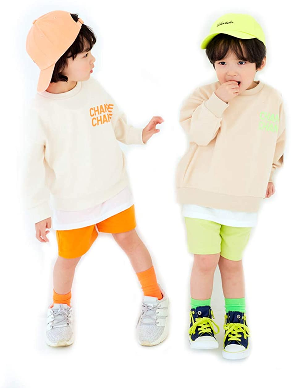 EUCACA 2Pcs Kids Boys Girls Clothing Sets Long-Sleeved + Pants 2-7Years Old Chance Set 2Color