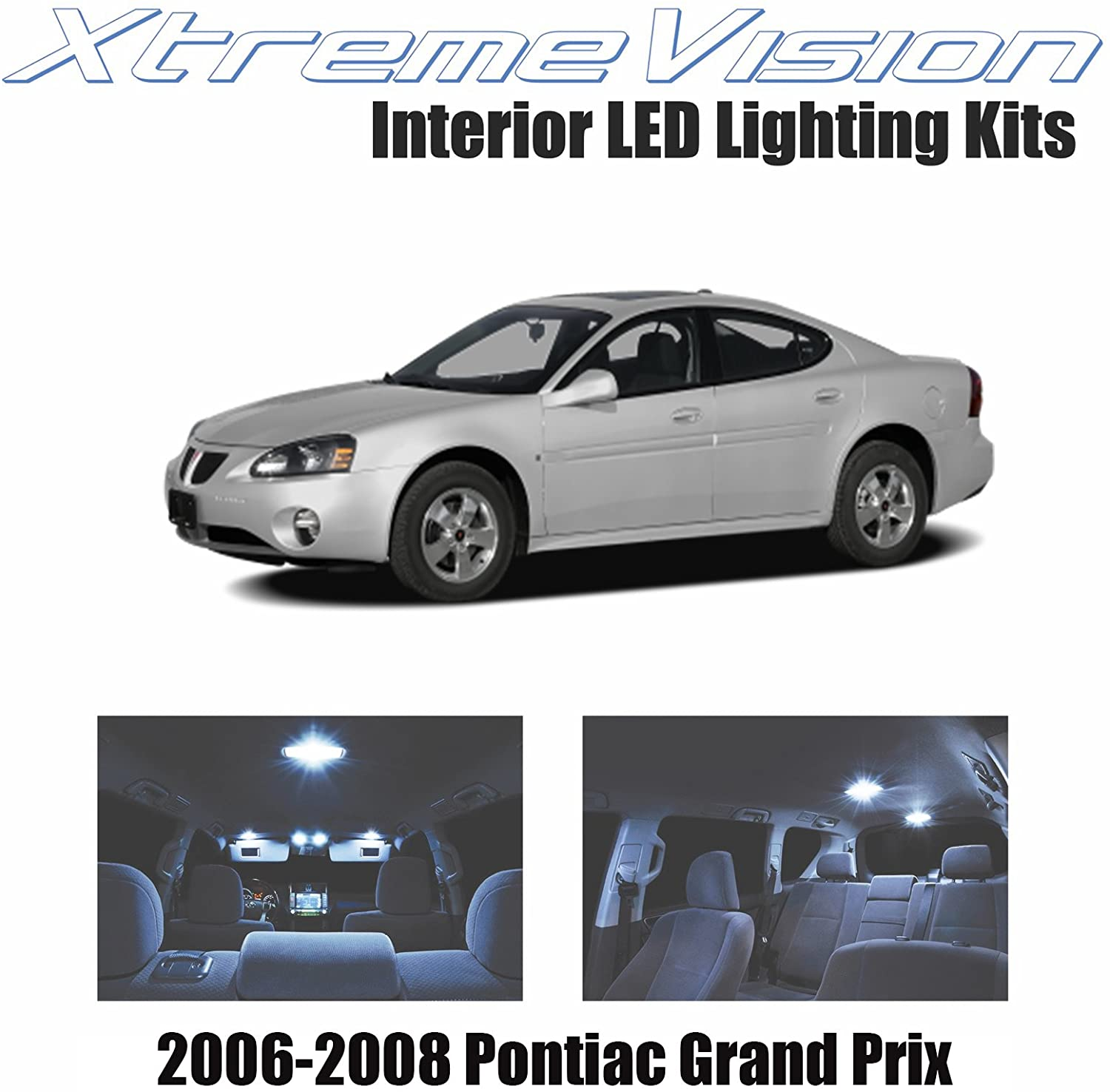 XtremeVision Interior LED for Pontiac Grand Prix 2006-2008 (8 Pieces) Cool White Interior LED Kit + Installation Tool