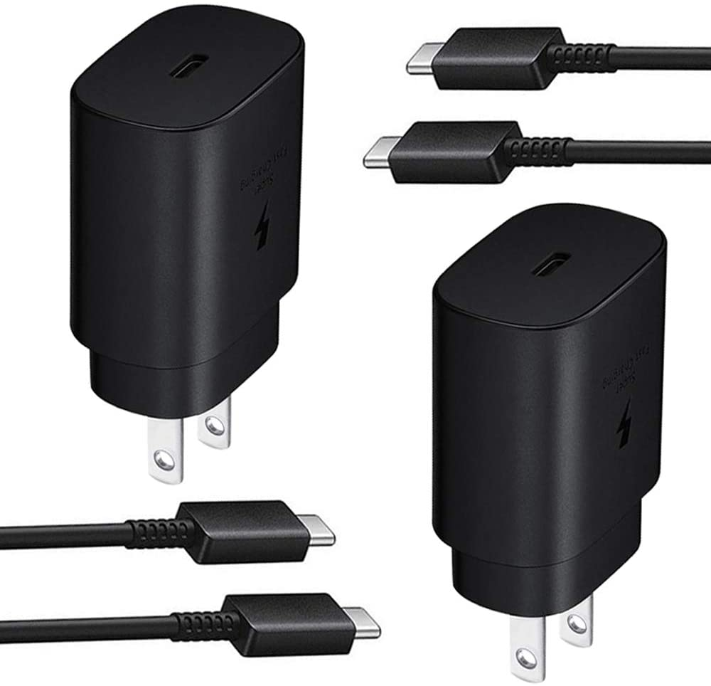 USB C Wall Charger,2-Pack PD 25W Fast Charger and 2-Pack 5-ft USB C to USB C Fast Charging Cable for Samsung Galaxy Note10/Note20/S20/S20+/S20 Ultra,2018 iPad Pro 11/12.9,2020 iPad Pro 11/12.9