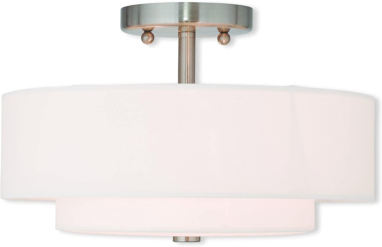 Livex Lighting 51043-91 Brushed Nickel Flush Mount with Off-White Fabric Hardback Shade