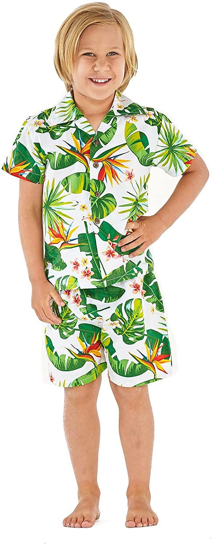 Hawaii Hangover Boy Aloha Luau Shirt Cabana Set in Vintage Tropical Toile