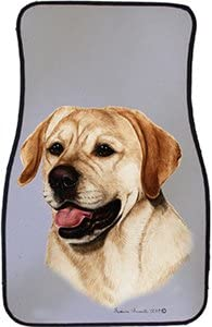 Yellow Lab Car Floor Mats - Carepeted All Weather Universal Fit for Cars & Trucks
