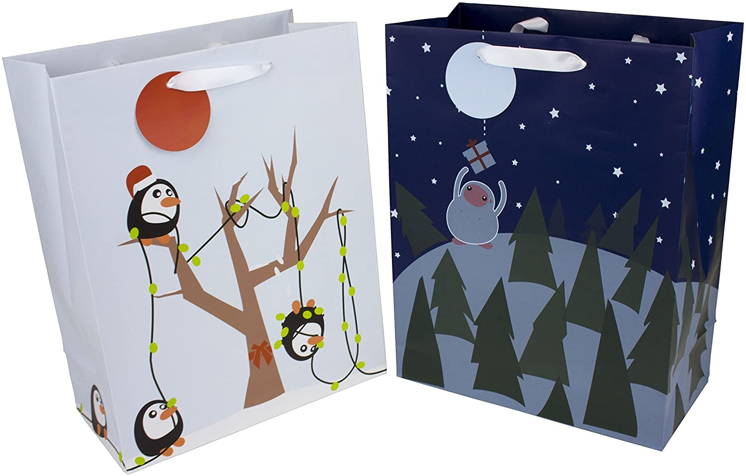 Heart Paper Products Illustrated Bags, Penguin X-Mas Crew