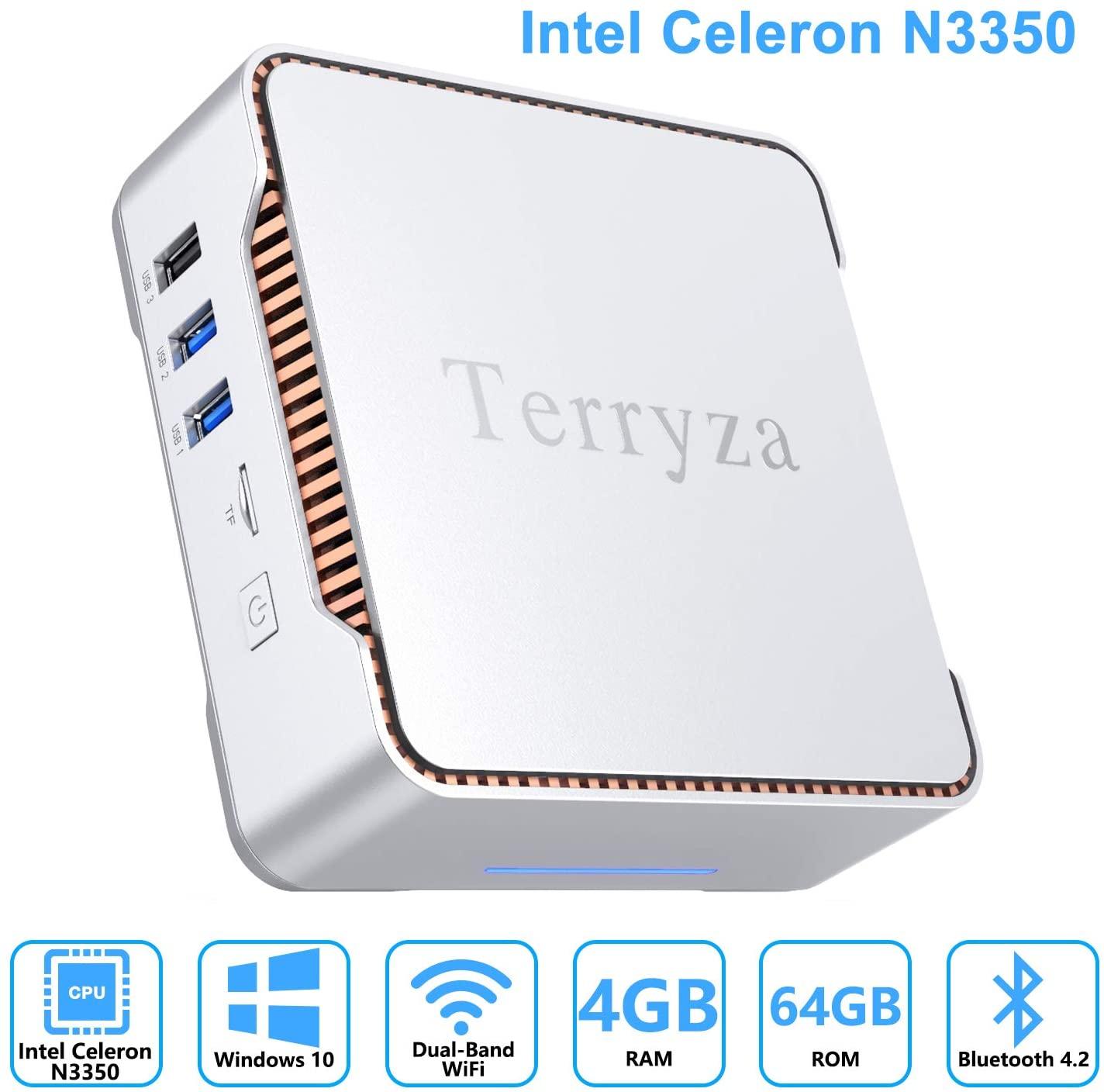 Terryza Mini PC Intel Celeron N3350 (up to 2.4GHz) Mini Computer with Window 10 Pro 64bit 4GB DDR3+64GB eMMC,Dual Band Wi-Fi 2.4G/5G,HDMI/VGA Port Three Display, Gigabit Ethernet, 4K HD,BT 4.2