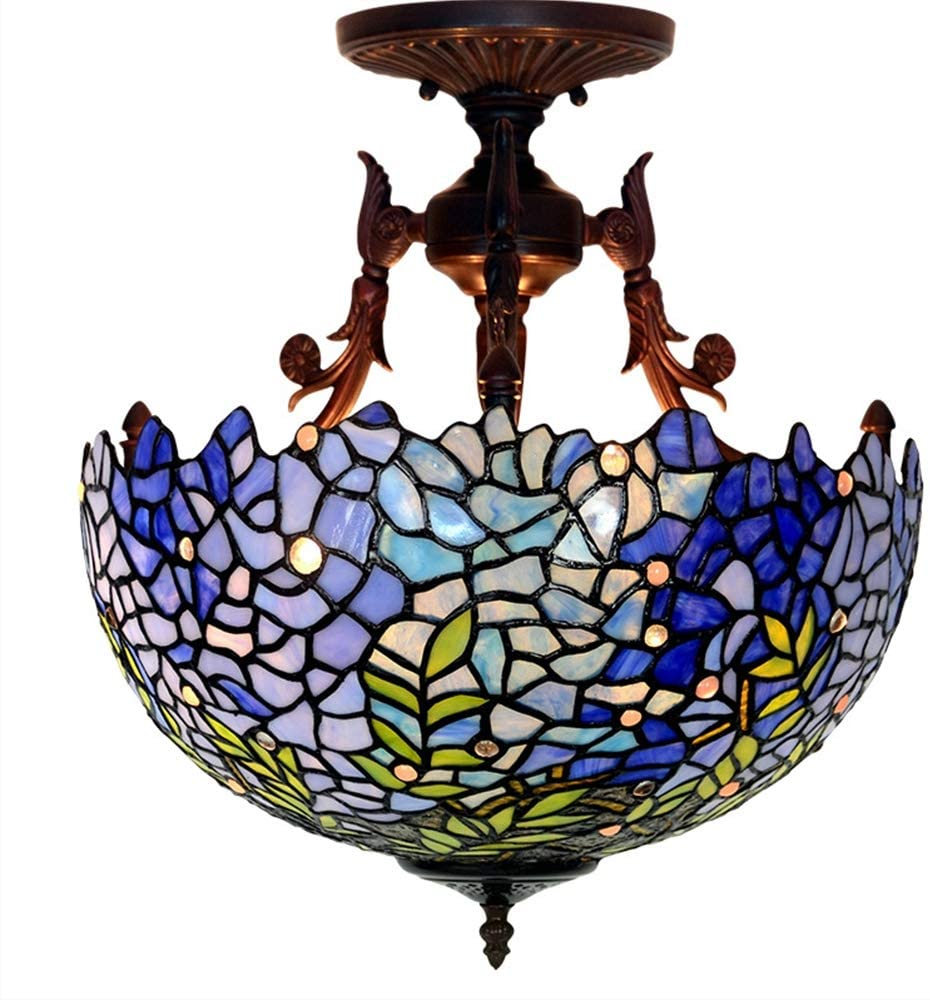 Retro Blue Kitchen Ceiling Light Fixture Semi Flush Mount, 16 Inch Handmade Wisteria Flowers Pattern Stained Glass Lampshade for Living Room Bedroom Tiffany Style Eye Protection Ceiling Lamp