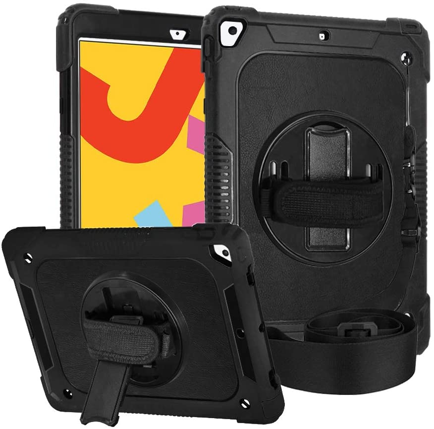 "FANSONG iPad 10.2 inch 7th Generation Case Leather Super Armor Rugged Shockproof Rubber Hard with [360 Rotating Stand] [Hand Strap & Shoulder Strap] for 2019 Apple iPad 7th Gen 10.2""Cover"