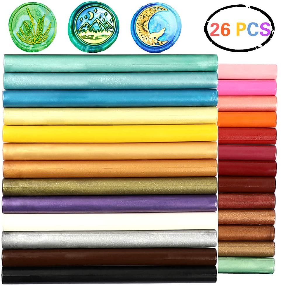 Sealing Wax Sticks, ONWINPOR 26pcs Assorted Colors Wax Seal Sticks, Wax Sealing Stick Rod Great for Wax Seal Stamp, Wax Seal Warmer(All)
