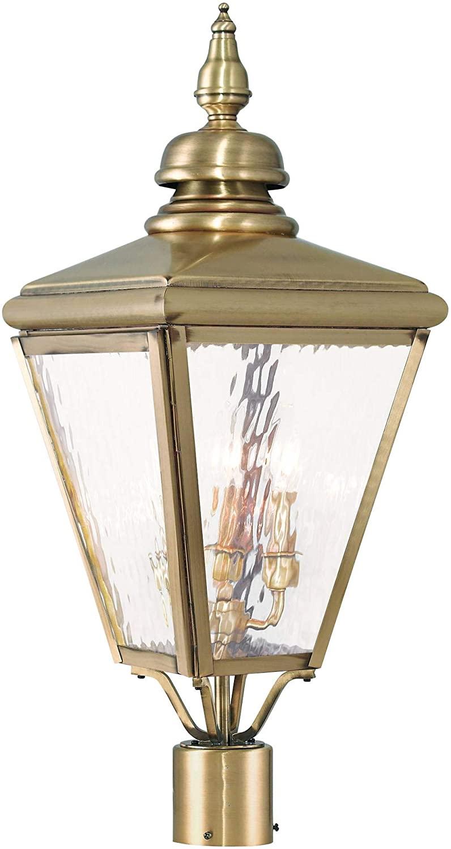 Livex Lighting 20433-01 Cambridge 3 Light Antique Brass Post-Top Lanterm