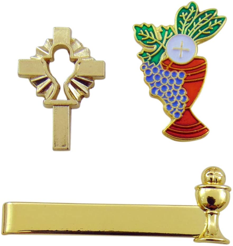 Westmon Works First Communion Boys Tie Clip and Two Chalice Pin Accessory Pack