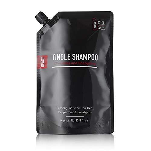 Beast Tingle Shampoo Refill - Cleansing & Energizing,Ginseng Caffeine Tea Tree Peppermint Eucalyptus Oils -1-liter 33.8 fl oz size