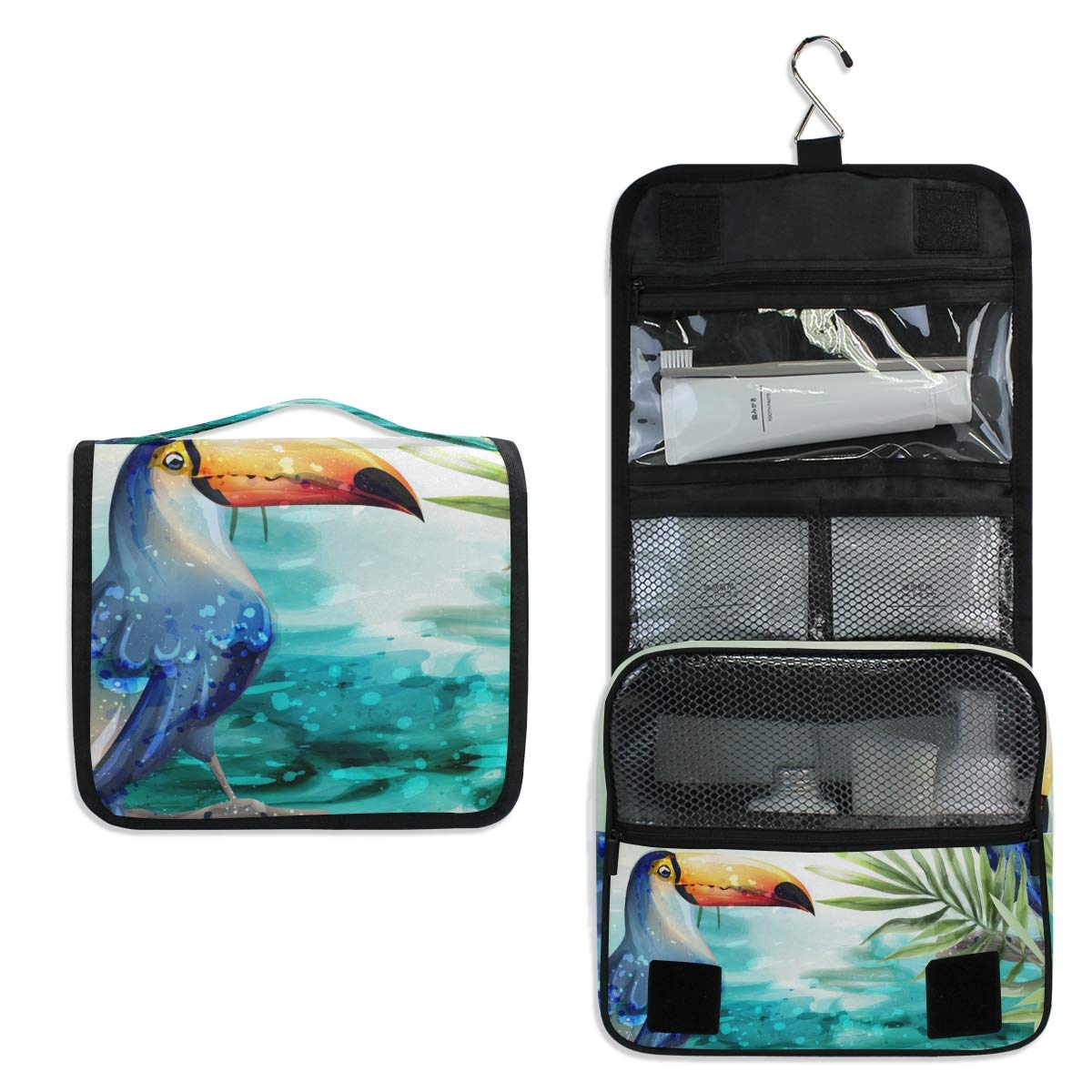 Hanging Travel Toiletry Bag - Toucan Watercolor Tropic Waterproof Cosmetic Bag Portable Makeup Pouch for Toiletries Bathroom